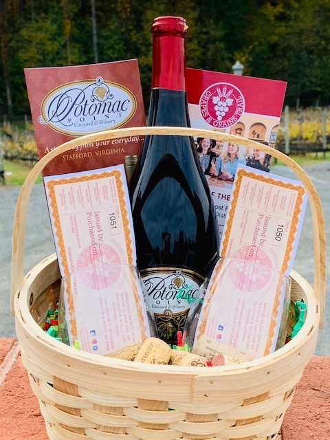 Grapes & Grain Gift Basket w/Wine